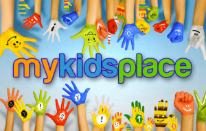 Brightly painted children's hands reaching toward MyKidsPlace logo