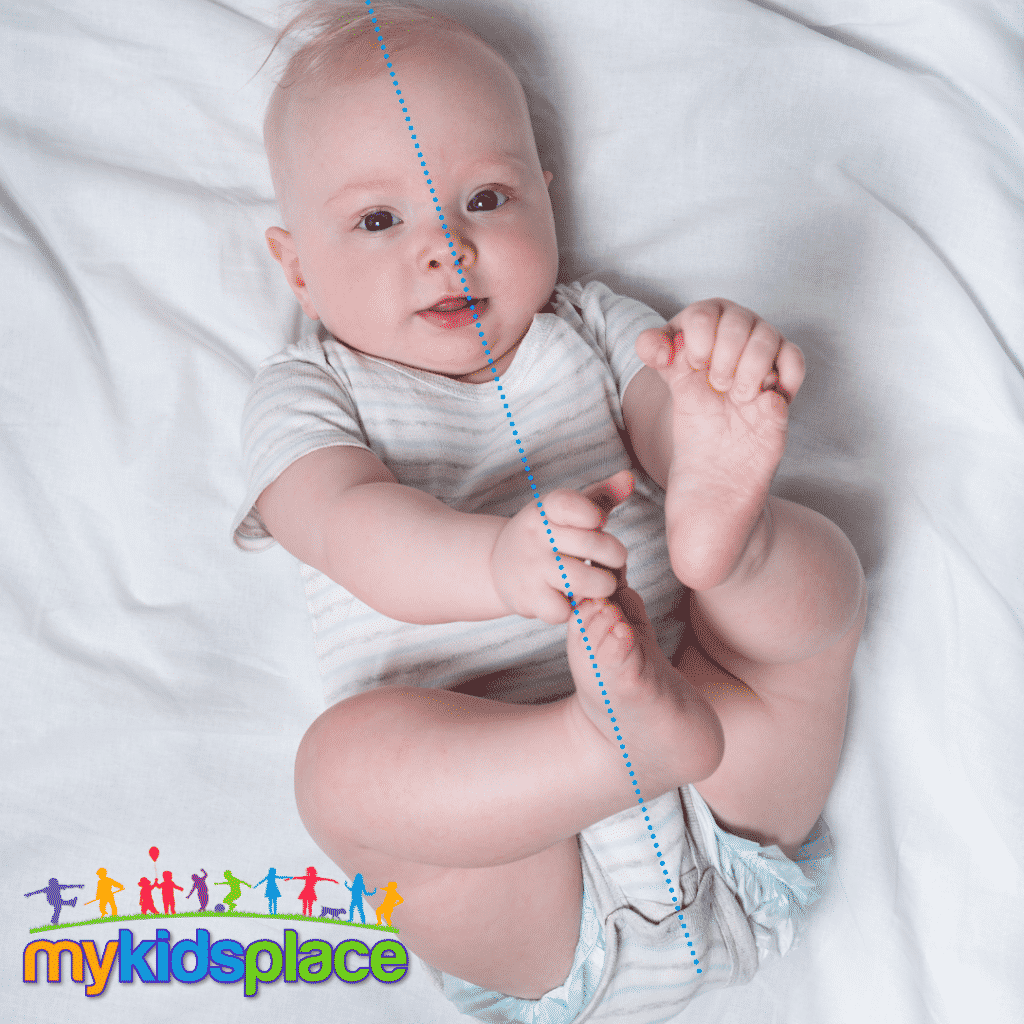 Baby lying on their back reaches for their feet at midline with both hands. Midline is represented by a blue dotted line reaching from head to bottom in the middle of the eyes, nose, chin, and body.
