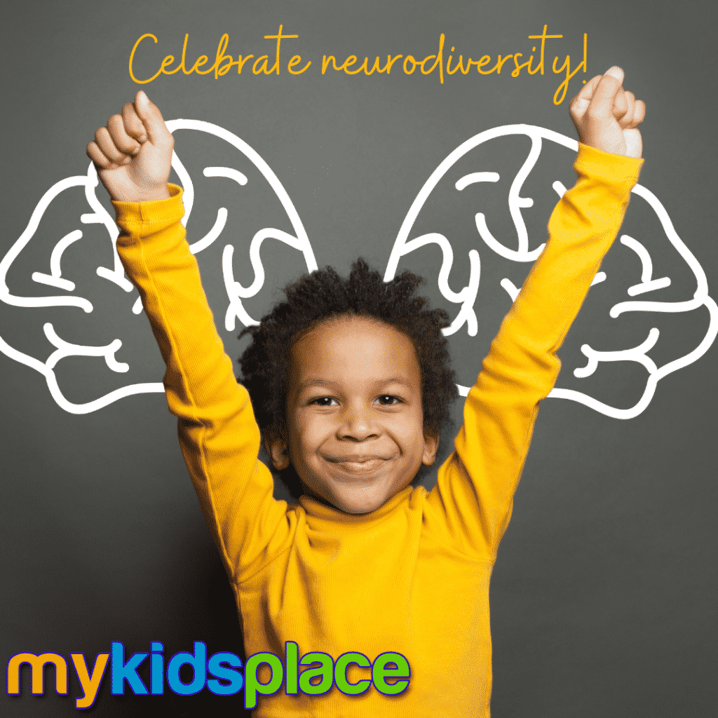 """Smiling child raises hands overhead with a cartoon image of a brain behind them. The words """"Celebrate neurodiversity!"""" hover above their hands."""