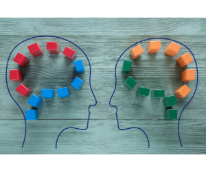 Two outlines of human heads are drawn on a teal, wooden background. Their brains are depicted as a series of wooden cubes. The human on the left has red and blue cubes, the human on the right has orange and green cubes to illustrate neurodiversity.